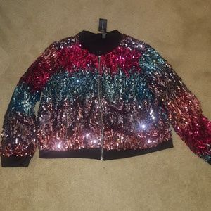 Ashley Stewart Jackets & Coats - Cropped sequin bomber jacket